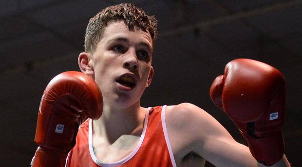 Stephen McKenna boxing for Ireland as an amateur in 2017