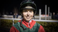 Dundalk delight: Emma Doyle had plenty to smile about after her first winner last Friday. Photo: Racing Post