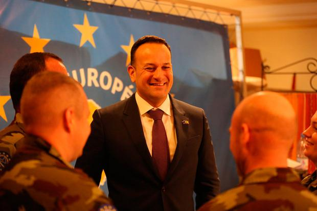 Leo Varadkar pictured with members of the Irish Defence Forces in Mali