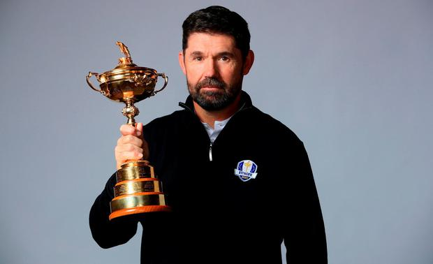 Padraig Harrington of the Republic of Ireland poses with the Ryder Cup trophy as he is announced as the European Ryder Cup Captain for 2020. (Photo by Andrew Redington/Getty Images)