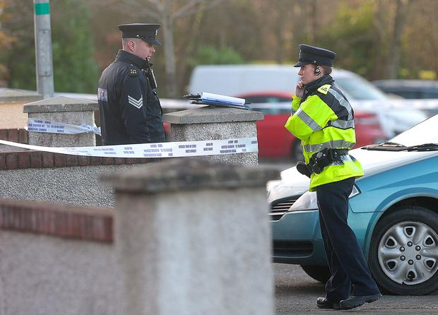 A Garda at the scene of a house in Clonmore, Co. Ardee which a body has been found. Picture credit; Damien Eagers / INM