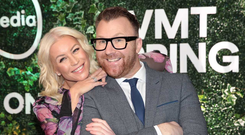 Ireland's Got Talent judges Denise Van Outen and Jason Byrne at the Virgin Media Television spring launch. PIC: Brian McEvoy