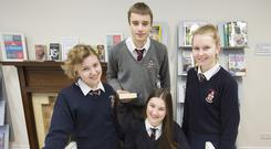 World view: Valeriia Ivchenco from Russia, Hugo Schouwenburg from Terryglass, Tipperary, and Anna Gabor and Yara Glanajcar, both from Germany, at Villiers School. Photo: Press 22