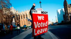 A pro-Brexit protester demonstrates outside the Houses of Parliament in Westminster, London. Photo: Getty Images