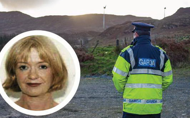 A garda stands at the site near Kerrykeel where officers are searching for the body of doctor Deirdre O'Flaherty (inset)