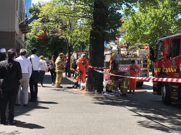 Hazmat and fire crews are seen outside the Indian and French Consulates on St Kilda Road in Melbourne, Australia, January 9, 2019. Staff have been evacuated as emergency crews respond to a number of incidents involving foreign consulates in Melbourne. AAP Image/Kaitlyn Offer via REUTERS