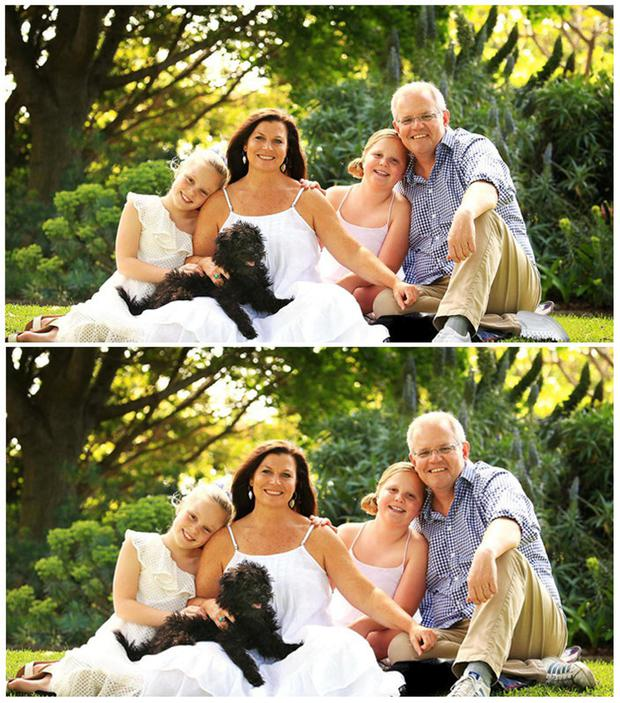 A combination of handout photographs supplied by the Australian Department of Prime Minister and Cabinet shows a doctored version of a portrait of Australian Prime Minister Scott Morrison and his family that was displayed on his website (top), and an undated original portrait that later replaced the doctored version Department of Prime Minister and Cabinet/Handout via REUTERS