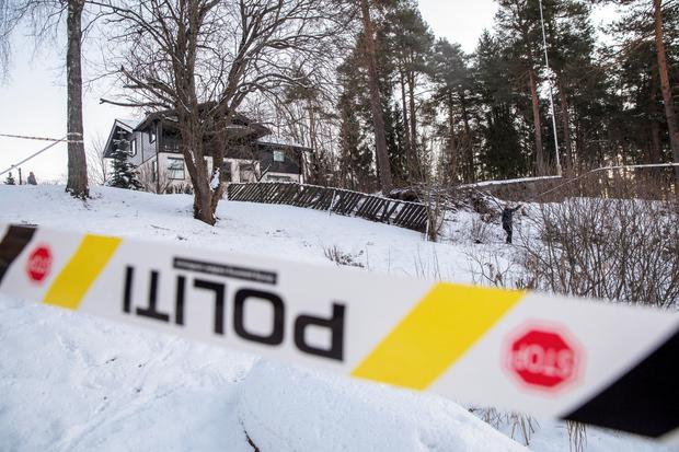 Police work outside the house of Norwegian Anne-Elisabeth Falkevik Hagen, who is the wife of real estate investor Tom Hagen, and has been kidnapped according to local media, in Fjellhamar, Norway January 9, 2019. Ole Berg-Rusten/NTB Scanpix/via REUTERS