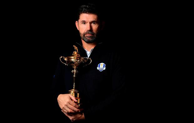 Padriaig Harrington poses with the Ryder Cup trophy after being named as European Ryder Cup Captain for 2020. (Photo by Andrew Redington/Getty Images)