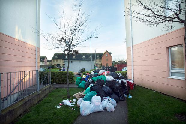 Piles of uncollected refuse at the Applewood Estate in Swords, Co. Dublin. Photo: Tony Gavin