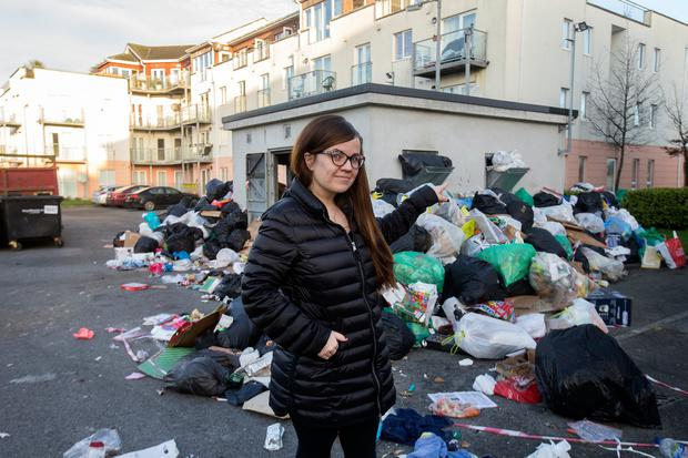 Local resident Joanna Mulewska stands beside piles of uncollected refuse at the Applewood Estate in Swords, Co. Dublin Photo: Tony Gavin