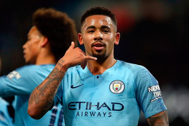 Manchester City forward Gabriel Jesus gestures after scoring his side second goal during the English League Cup semi-final first leg soccer match between Manchester City and Burton Albion at the Etihad Stadium in Manchester, England, Wednesday, Jan. 9, 2019. (AP Photo/Dave Thompson)
