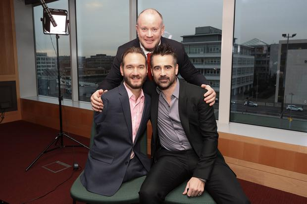 Pendulum co-founder Frankie Sheahan with guest speakers Nick Vujicic and Colin Farrell. Photo: Conor McCabe