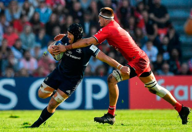 French resistance: Leinster's Sean O'Brien is tackled by Florian Verhaeghe of Toulouse during the Irish province's defeat in France in October. Photo: Brendan Moran/Sportsfile