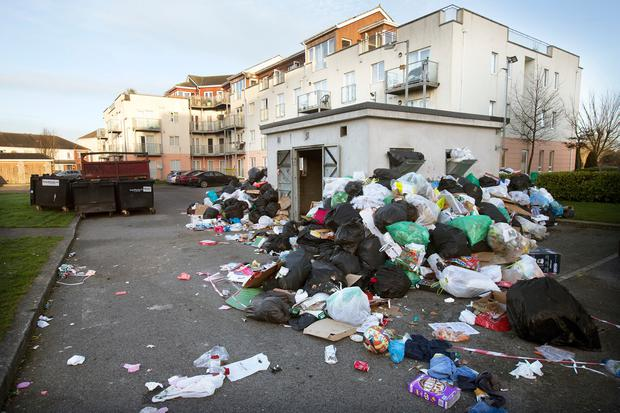Mess: Piles of refuse at the Applewood Estate in Swords, Co Dublin. Photo: Tony Gavin