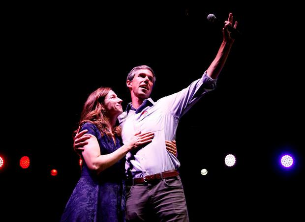 New hope: Democrat Beto O'Rourke with his wife Amy after conceding to Ted Cruz in November. Photo: Adria Malcolm/Reuters