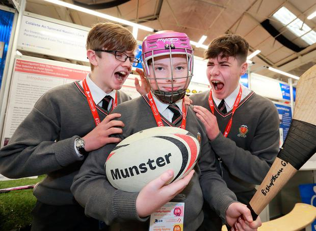 Brian Donnelly (14), Ross O'Donovan (13) and Timmy O'Riordan (14), who studied the impact of parents at sports games. Photo: Frank McGrath