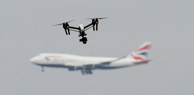 Departures from Heathrow, Europe's busiest airport, were halted for an hour on Tuesday after a drone was sighted. Photo: PA