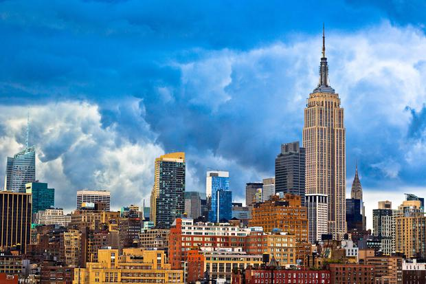 View of Empire State building and Chrysler building in New York City