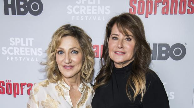 Edie Falco, left, and Lorraine Bracco attend The Sopranos 20th anniversary event in New York (Charles Sykes/Invision/AP)