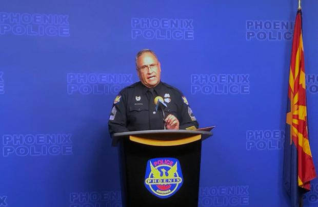Sgt. Tommy Thompson, of the Phoenix Police Department, speaks to the media (AP Photo/Brian Skoloff)