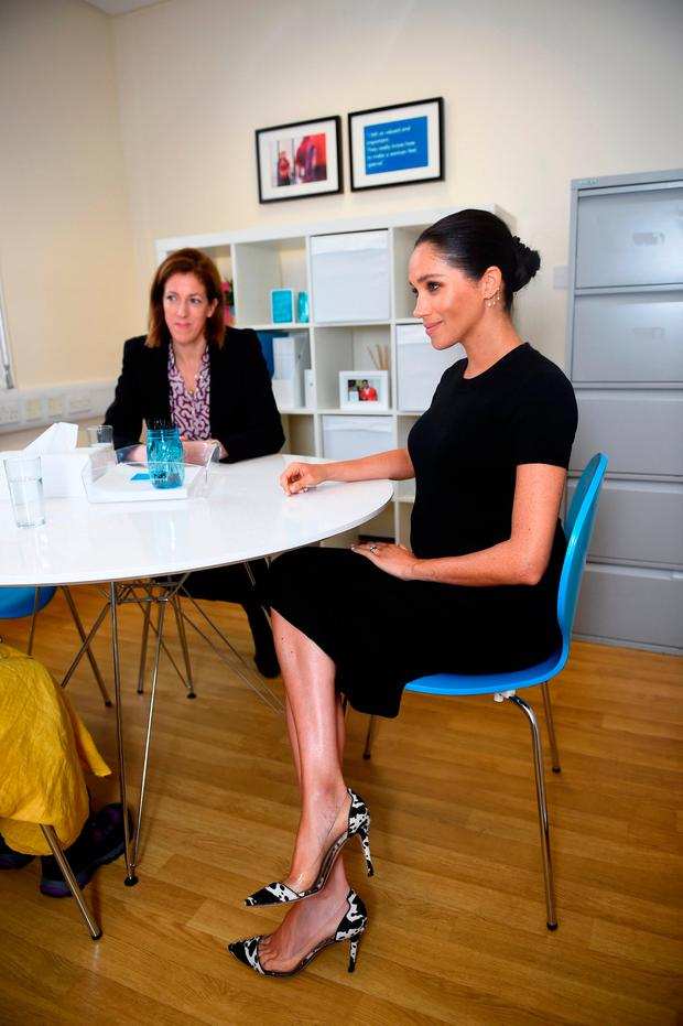 Meghan, Duchess of Sussex chats with interview coach Marina Novis during her visit to Smart Works on January 10, 2019 in London, United Kingdom
