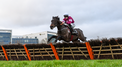 28 December 2018; Apple's Jade, with Jack Kennedy up, clear the last on their way to winning the Squared Financial Christmas Hurdle during day three of the Leopardstown Festival at Leopardstown Racecourse in Dublin. Photo by David Fitzgerald/Sportsfile