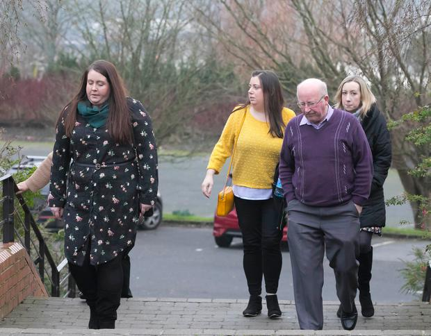 Relatives of those who died in the accident arrive at the Brandon House Hotel in New Ross for the inquest yesterday. Photo: Patrick Browne