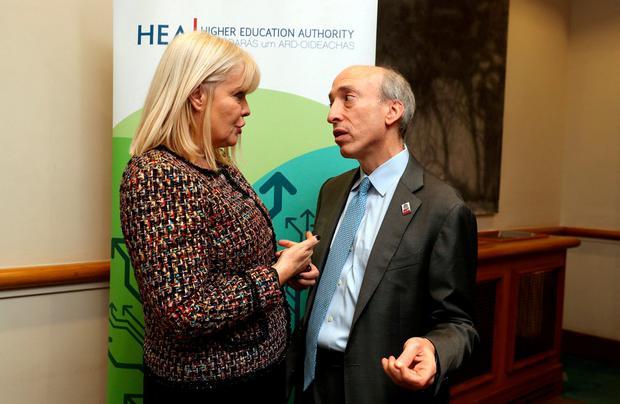 Warning: Gary Gensler with Minister of State at the Department of Education Mary Mitchell O'Connor. Photo: Jason Clarke
