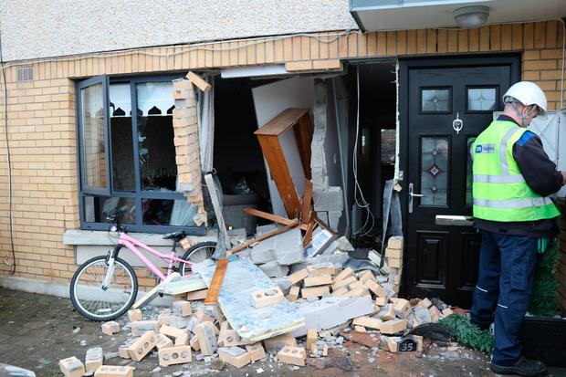 The damage to the front of the house on St Aongus Road, Tallaght, Dublin