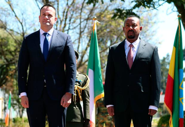 Leo Varadka and his Ethiopian counterpart Abiy Ahmed stand for the national anthem during his official visit to Addis Ababa, Ethiopia, January 9, 2019. REUTERS/Tiksa Negeri