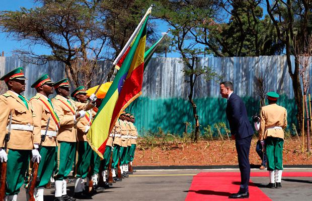 Leo Varadkar reviews the honour guard during his official visit to Addis Ababa, Ethiopia, January 9, 2019. REUTERS/Tiksa Negeri