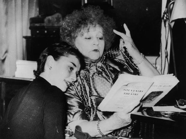 Colette with Audrey Hepburn who played the lead in Gigi on Broadway. Photo: Getty Images
