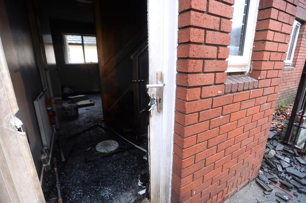 The scene of a suspected arson attack at St Margarets Avenue Photo: Justin Farrelly.