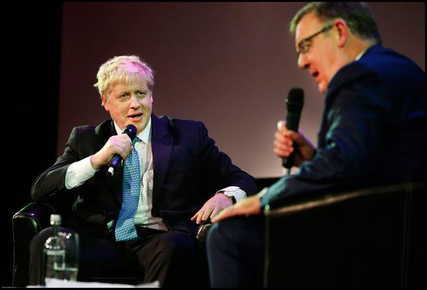 Boris Johnson speaking to Bryan Dobson at the Pendulum Summit 2019 at the Convention Centre in Dublin. Pic Steve Humphreys