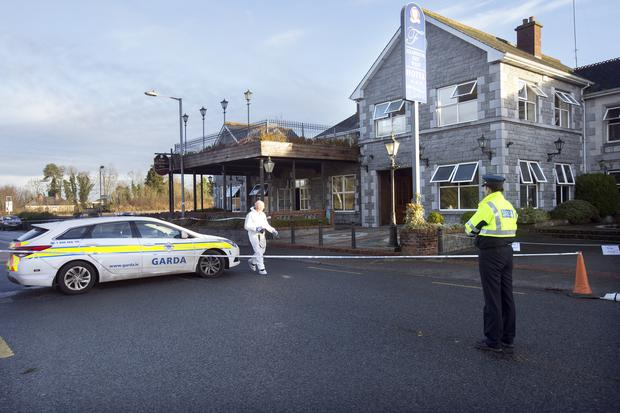 Garda forensic outside the Shannon West Hotel in Roosky. Photo: Tony Gavin 11/1/2019