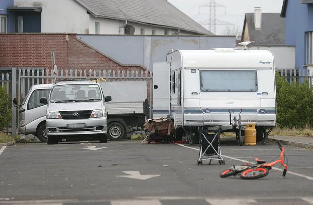 A standoff is taking place between Council officials and travellers at a site in west Dublin where an eviction was due to take place today Picture credit: Damien Eagers / INM