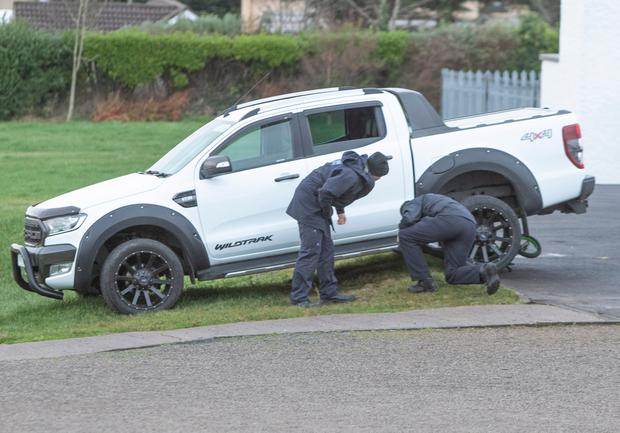 Garda Siochana forensic officers at scene of the accident in Dungloe where Dawn Croke lost her life. (North West newspix)