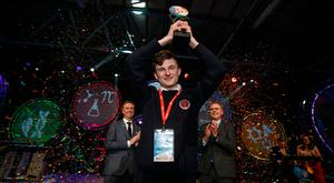 Winner of the BT Young Scientist & Technologist Award 2019 Adam Kelly from Skerries Community College, Co Dublin pictured with Shay Walsh, Managing Director BT Ireland and Minister for Education and Skills, Joe McHugh Pic:Mark Condren