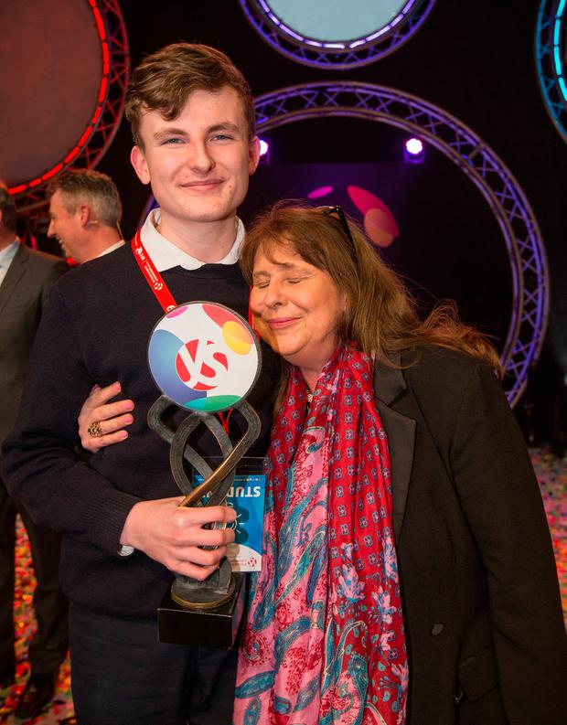 Adam Kelly from Skerries Community College, Co Dublin winner of the BT Young Scientist & Technologist Award 2019 celebrates with his mother Carol Moroney Pic: Mark Condren