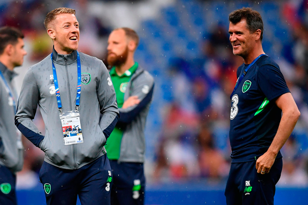 Shane Supple and Republic of Ireland assistant manager Roy Keane prior to last May's International Friendly against France at Stade de France. Photo: Stephen McCarthy/Sportsfile