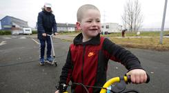 Crisis: Isaac Doherty (5) at the site in west Dublin yesterday. Photo: Damien Eagers