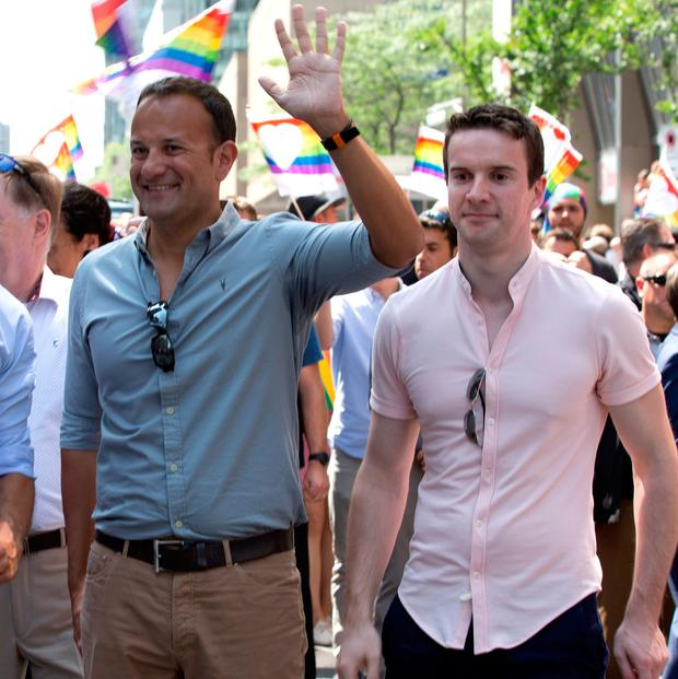 Leo Varadkar and his partner Matthew Barrett during the Montreal Pride parade in 2017