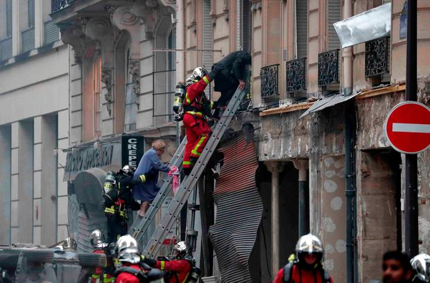 Firemen work at the site of an explosion in a bakery shop in the 9th District in Paris, France, January 12, 2019 REUTERS/Benoit Tessier