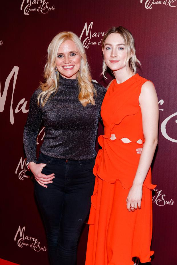 Karen Koster is pictured with Saoirse Ronan, pictured at the Universal Pictures special screening of Mary, Queen of Scots at The Stella Theatre. Picture: Andres Poveda
