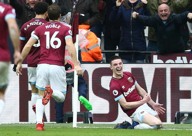 Declan Rice (right) celebrates his first career goal (Yui Mo/PA).