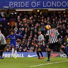 Willian of Chelsea scores his team's winning goal during the Premier League match against Newcastle United at Stamford Bridge (Photo by Justin Setterfield/Getty Images)
