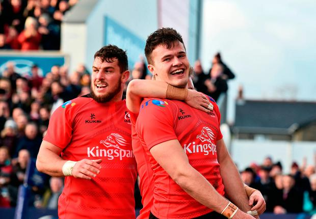'Ulster have not been in the quarter-final for five years but their win over Racing - beaten finalists last season - gives them a good chance of a runners-up spot going to Leicester Tigers on Saturday. Yet again Jacob Stockdale was the hero, wading in with two tries.' Photo: Charles McQuillan/Getty Images