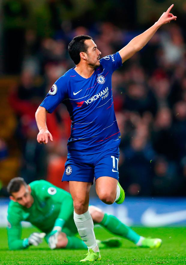 Pedro celebrates after scoring Chelsea's opening goal against Newcastle United at Stamford Bridgeof. Photo: Clive Rose/Getty Images