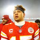 Kansas City Chiefs quarterback Patrick Mahomes (15) after beating the Indianapolis Colts in an AFC Divisional playoff football game at Arrowhead Stadium. Credit: Mark J. Rebilas
